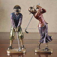 Custom couple statue male /female playing golf resin crafts