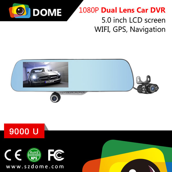 5 inch IPS HD touch screen Google Map GPS Navigation 1080P Car rearview mirror dvr with reverse camera