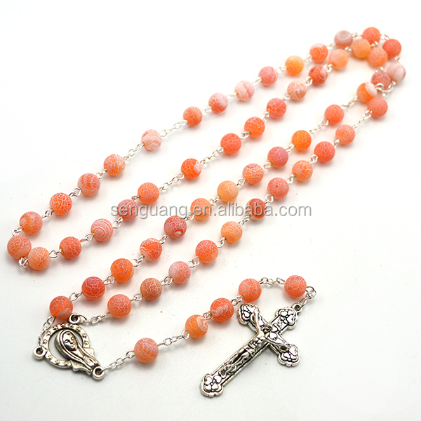 striped different color beads necklace glass material 59 beads rosary