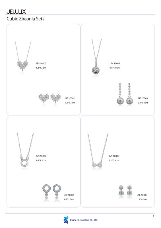 Woobo silver jewelry set (necklace and earring) made in Korea