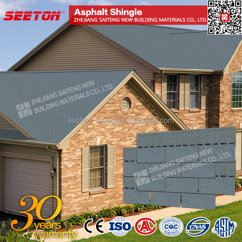 Cloudy Gray flat roof tile plain asphalt roofing shingles price