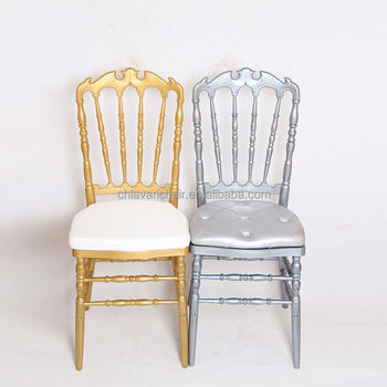 Gold Silver Color Acrylic King Queen Resin Royal Wedding Chairs