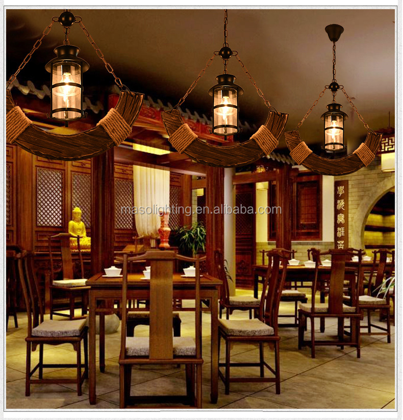 Vintage wood chandelierslamp indoor lights with bulb zhongshan lighting factory ceiling pendant lamp