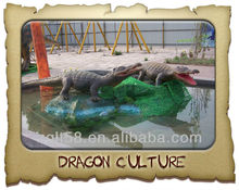 Waterproof remote control life size animatronic crocodile
