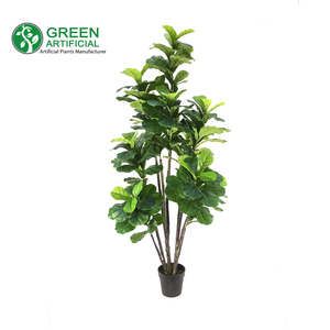 GreenArtificial Fiddle Leaf Fig Tree, Artificial Potted Ficus Lyrata Plant, 1.8m/6ft Tall (FLFT-A01050)