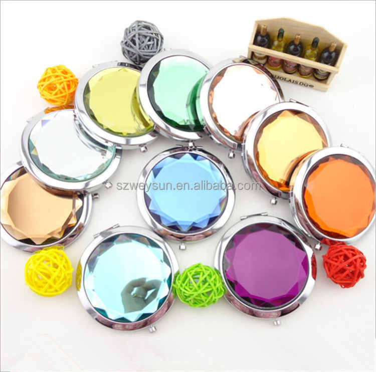 Colorful Crystal Beauty Mirrors Bridal Shower Favors Compact Mirror
