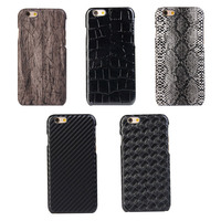 Men's leather wood carbon fiber pc phone case for iphone 5/5s/5se