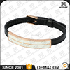 Wholesale Price Fashion Shell Pearl Bangle Adjustable Size 316L Stainless Steel Genuine Leather Bracelet