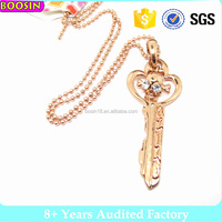 fashion artificial rose gold engraved key necklace