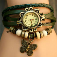 Hot Seller Vintage Style Butterfly Pendant Watch Genuine Leather Retro Watch Fashion Ladies Watch