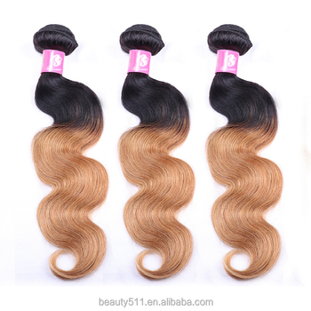 Alibaba express 100% virgin Brazilian hair deep yellow Ombre hair extension with body waves HS08