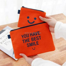 cheaper promotion gift cotton zipper A4 document pouch