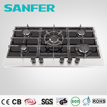 5Burners Glass Panel with Stainless Steel Table Top Gas Stove