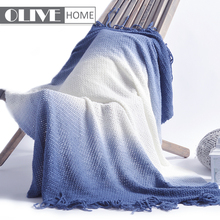 Hot Sales Portable Ombre Tricot 100 Acrylic Knitted Fabric Throw Blanket