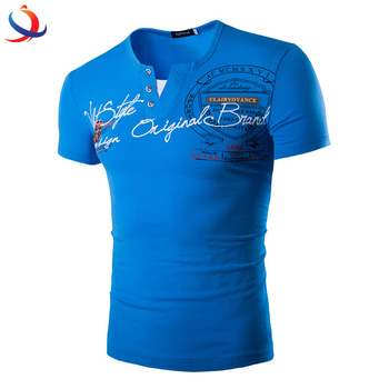 V Neck Wholesale T Shirts Mens Cotton Short Sleeve T Shirt With Printed Logo