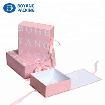 China wholesale luxury folding Matte cardboard gift box with ribbon closure