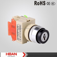 TUV UL CE ROHS plastic HBY090 two position and three position key switch