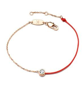 wholesale custom handmade simple lucky red rope bracelet diamond rose gold plated stainless steel chain bracelet With CZ Stone