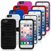 Top Sell Kickstand Soft Silicone Hard PC Hybrid Case for iPhone 6 Defender Armor Case