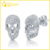 sterling silver cubic zirconia micro pave cz diamond skull earrings