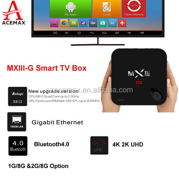 Amlogic Quad Core Amlogic S812 smart tv box MXIII-G with free cartoon movie for children