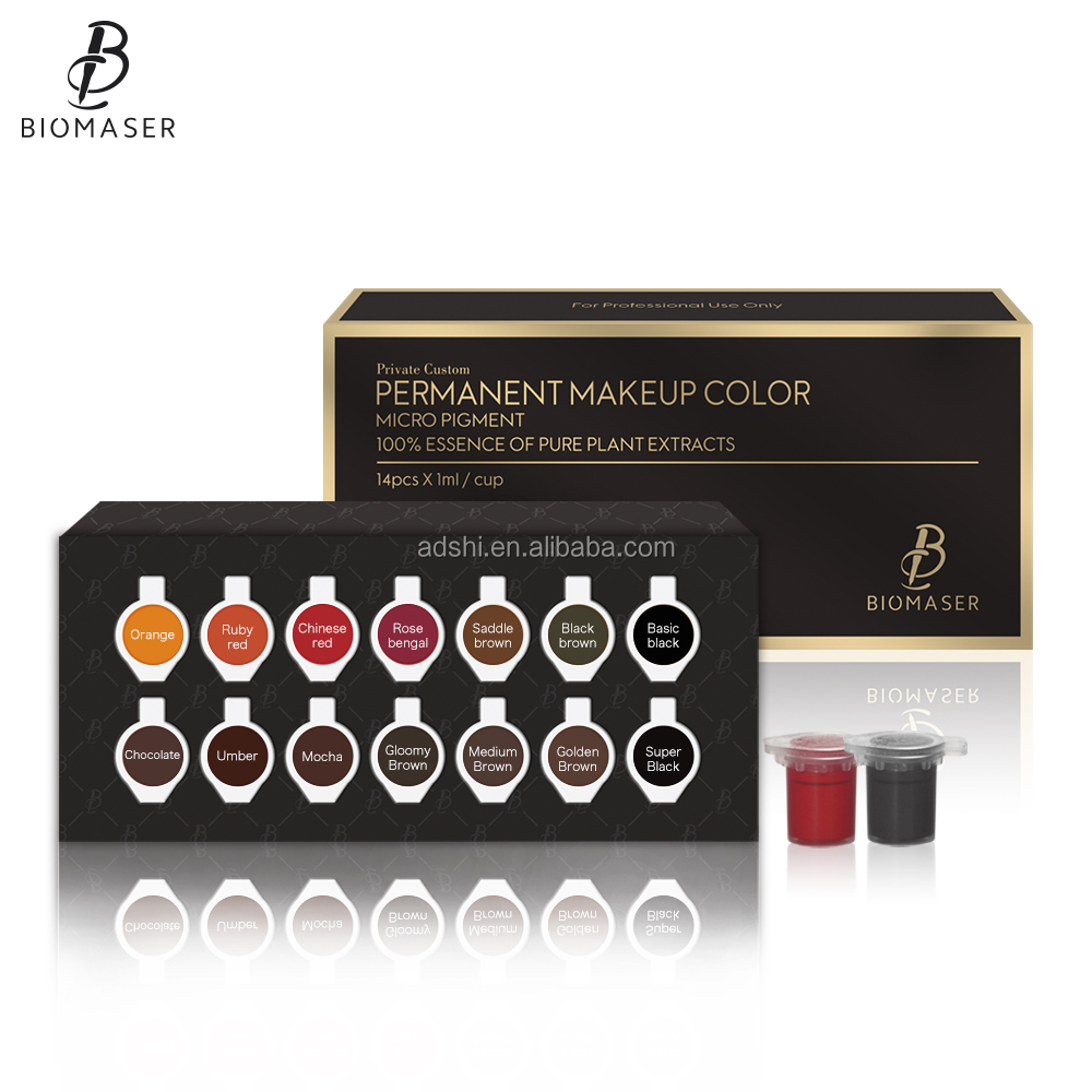 High quality 14 colors biomaser permanent makeup eyebrow cream pigment