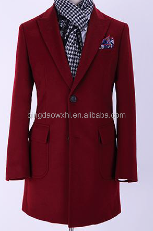 new design custom tailored fashion slim fit wine man's suit two buttons peaklapel high class men overcoat