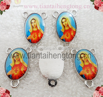 3 hole alloy rosary center,catholic Icon Charm centerpiece,oval virgin mary madel