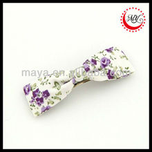 Purple Floral Print Fabric Bow Hair Clip Barrette 6.6cm*1.8cm