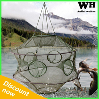 8 Holes Portable Folded Fishing Net Fish Shrimp Minnow Crab Baits Cast Mesh Trap