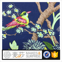 Cotton Linen printed fabric, animal pattern bird and branch colorful design, batiste garments ready-made from shaoxing supplier