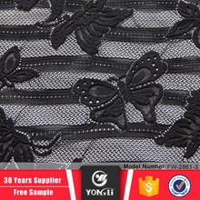 China manufacturers butterfly design black peruvian lace fabric