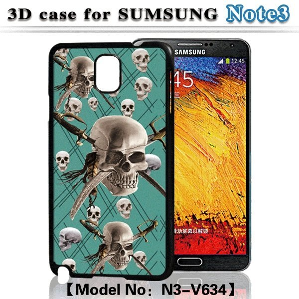 Skull Case For Samsung.Printing Cell Phone Case 3D Flash Back Cover For Samsung Galaxy Note 3 N9000
