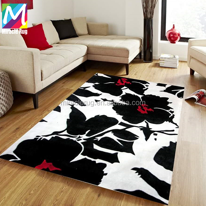 Attractive 3d Flower Design Handmade New Zealand Wool Carpet with Custom Size Color