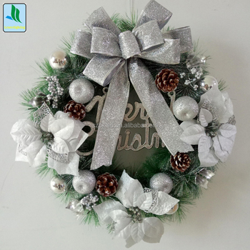 PVC&PET Sliver Christmas Wreath/Garland with LED light