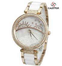 Latest amazing design watch Customize shinny two levels dial women watch High grade and luxury watch ladies