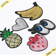 Fashion iron on patch sequin appliques for clothing