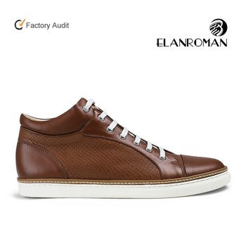 Custom Brown color cow leather mens leather sneakers manufacturer