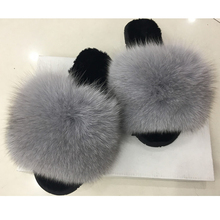 Wholesale ladies slides furry sandals soft fox fur slippers for women