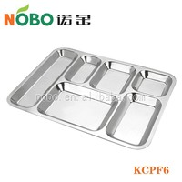 6 big compartments stainless steel mess tray