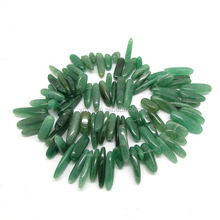 SB6442-07 Long Chip beads ,natural green aventurine quartz