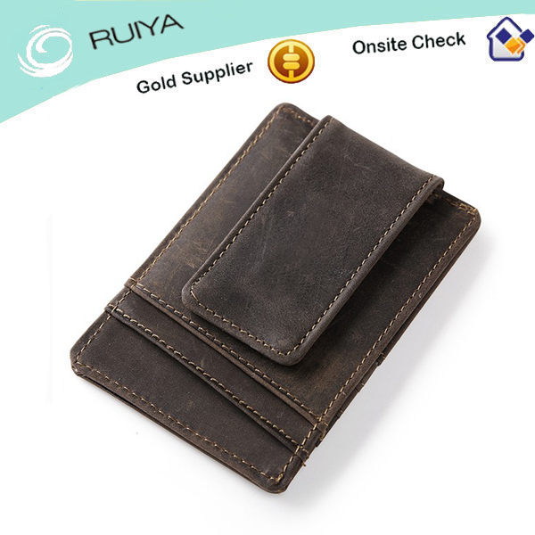 Men Crazy Horse Genuine Leather Magnetic Money Clip Wallet ID Card Holder