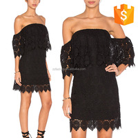 2016 New china apparel Summer fashion black lace off shoulder one piece girls party short dresses