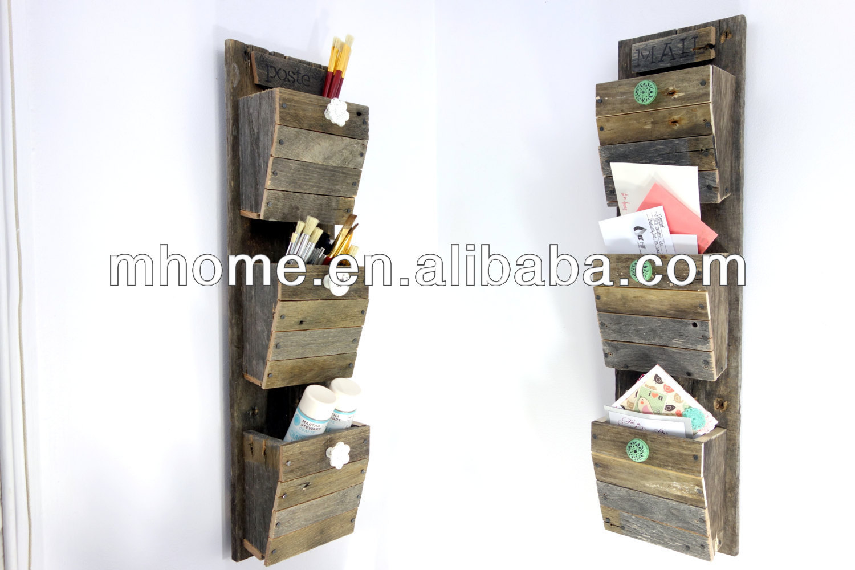 3 f chern holz wand h ngen mail organizer mit haken. Black Bedroom Furniture Sets. Home Design Ideas