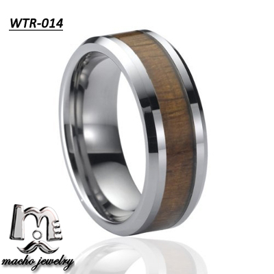 Special High Polished Fashion Western Tungsten Rings With Wood Inlay For Engagement