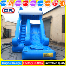 ZZPL giant blue inflatable water slide dolphin themed ocean wave inflatable slides