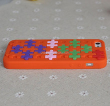Puzzle Cartoon silicone case for iphone5/4