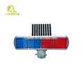 Double sides 4 sets red and blue solar wireless LED strobe traffic signal warning light