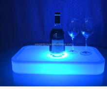 PE portable ice cooler champagne RGB color changing cordless rechargeable led ice bucket light