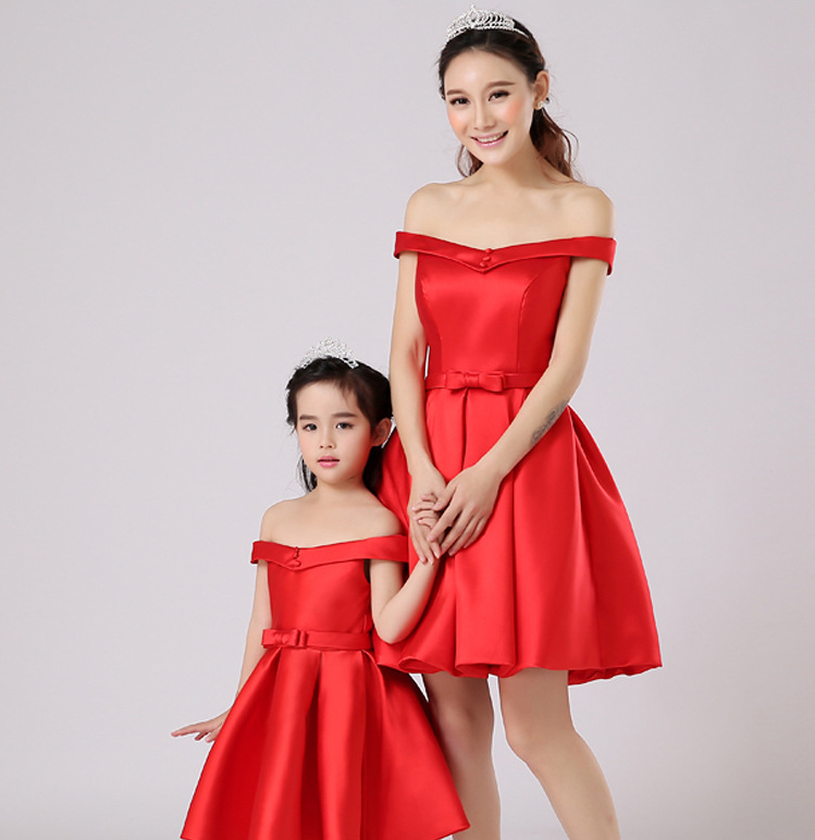 2016 new fashion red color off shoulder mother and daughter dress wholesale